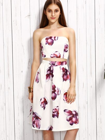 White Cutout Floral Print Strapless Flare Dress