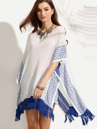 Beige Tassel Hem Split Side Knitted Top