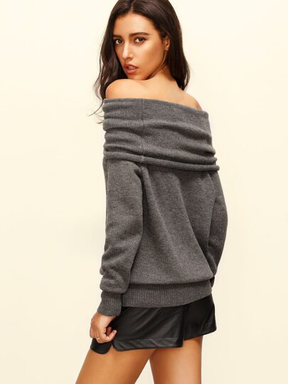 Convertible Cowl Neck Sweater -SheIn(Sheinside)