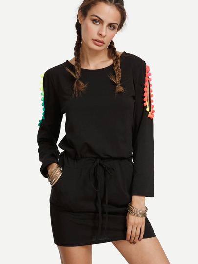 Black Pom-pom Trim Cut Out Long Sleeve Dress