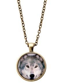Bronze Animal Print Glass Pendant Necklace