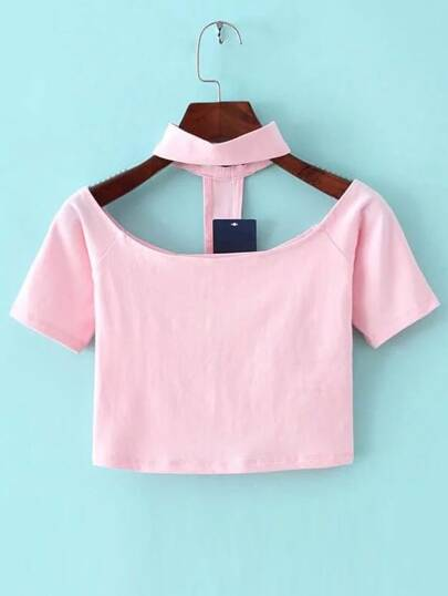 Pink Cutout Choker Neck Crop T-shirt