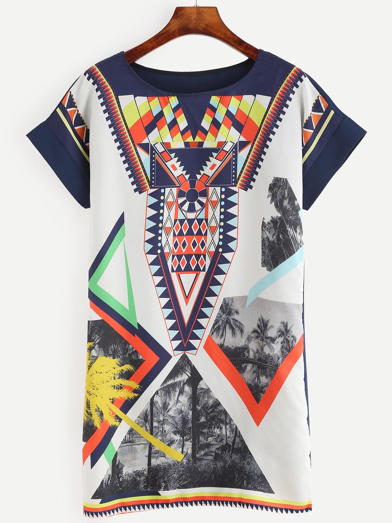 Фото Graphic Printed Shift Dress. Купить с доставкой