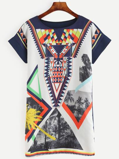Graphic Printed Shift Dress