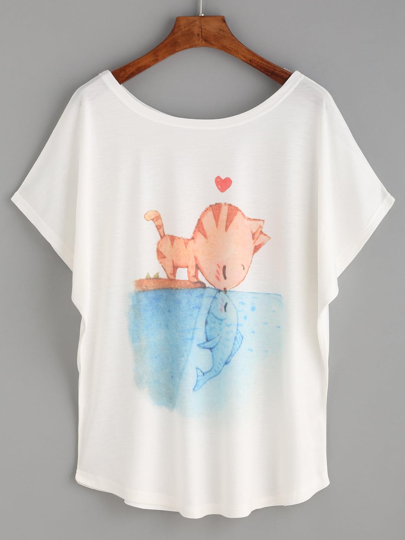 White Cat And Fish Print T Shirt Shein Sheinside