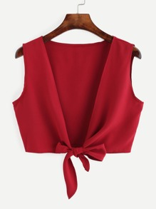 Red Knotted Front Crop Top