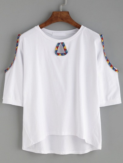White Geo Print Tape Trim Open Shoulder T-shirt