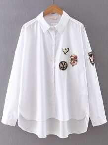 White Button Front Dipped Hem Applique Blouse