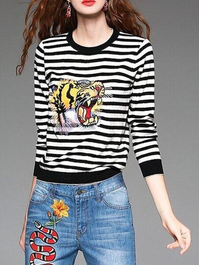 Black White Striped Tiger Embroidered Knit Sweatshirt