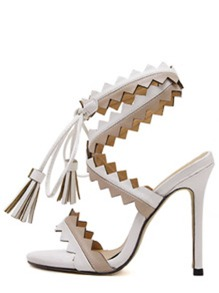White Peep Toe Fringe Lace-up Sandals