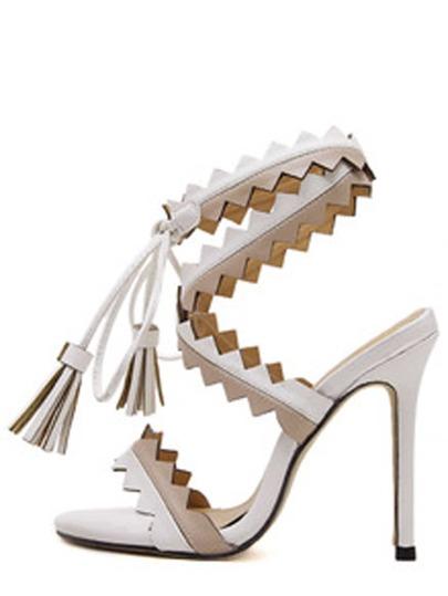 White Peep Toe Fringe Lace-up Sandals