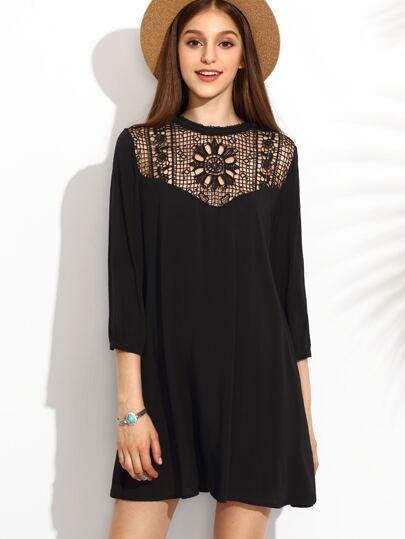 Black Crochet Front Tunic Dress