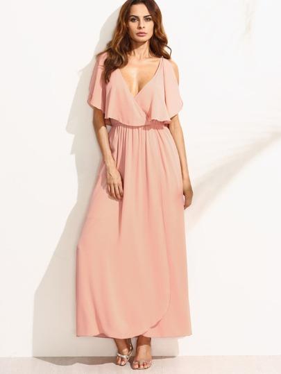 Plunge V Neckline Frill Blouson Dress