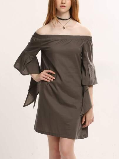 Khaki Ruffle Sleeve Cutout Back Off The Shoulder Dress