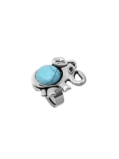 Antique Silver Turquoise Embellished Elephant Shape Ring