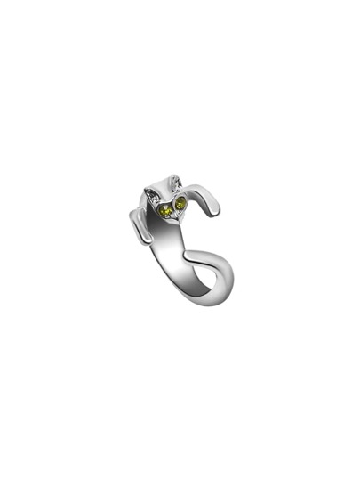 Silver Cat Shaped Ring