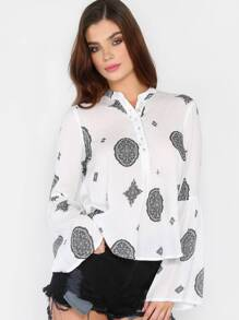 Mystic Printed Long Sleeve Blouse OFF WHITE