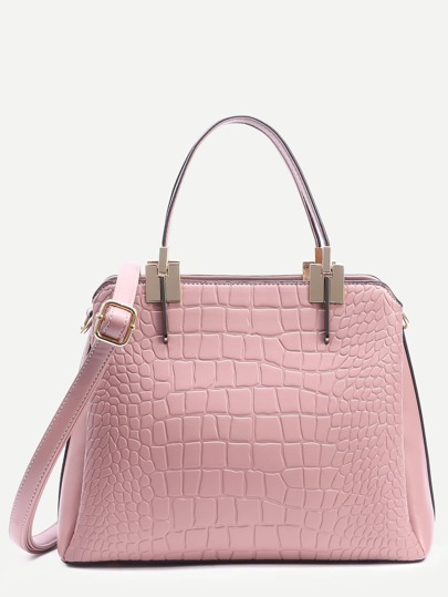 Pink Crocodile Embossed Layered Satchel Bag