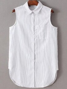 White Lapel Striped Buttons Blouse