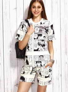 White Comic Print T-shirt With Shorts