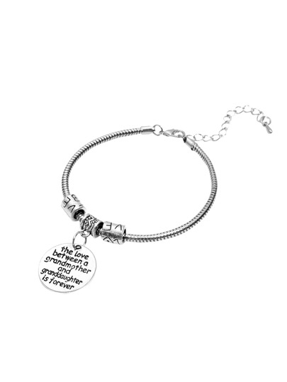 Silver Hand Stamped Charm Bangle