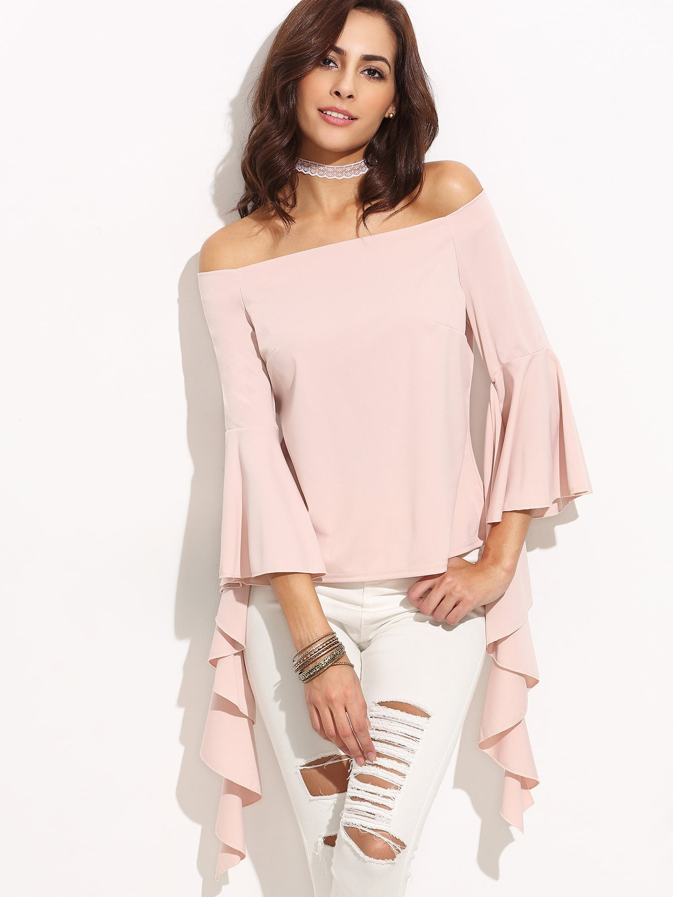 Pink Off The Shoulder Bell Sleeve Asymmetrical Blouse blouse160726301