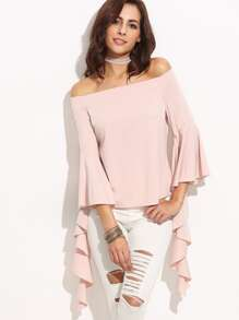 Pink Off The Shoulder Bell Sleeve Asymmetrical Blouse