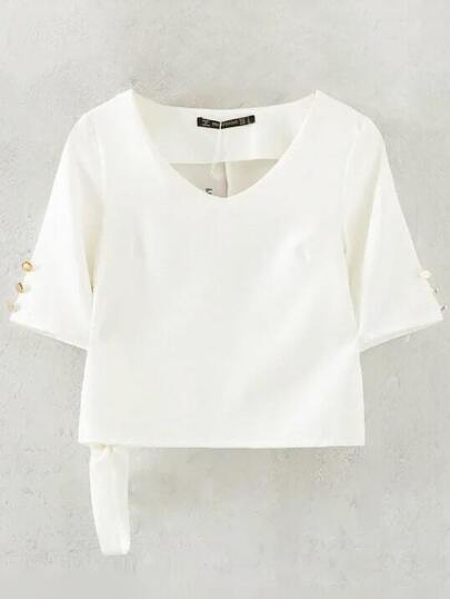 White V Neck Tie Buttons Blouse