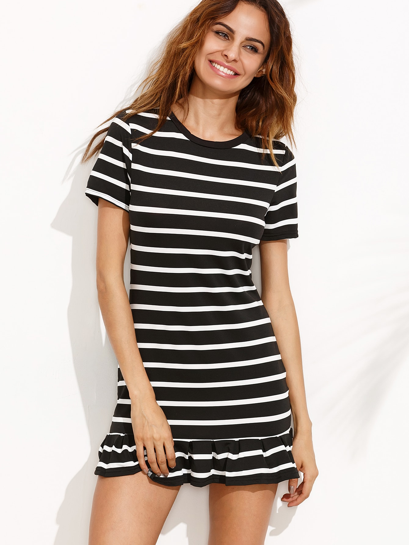 Black Striped Ruffle Hem Tee Dress dress160729306
