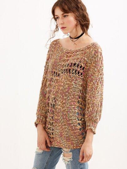 Brown Elastic Cuff Hollow Knitwear