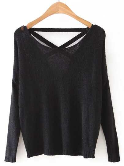 Black Criss Cross Back Knitwear