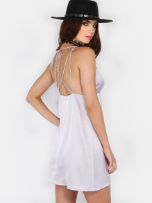 Strappy Slip Silk Dress GREY