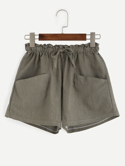 Olive Green Drawstring Shorts With Pockets