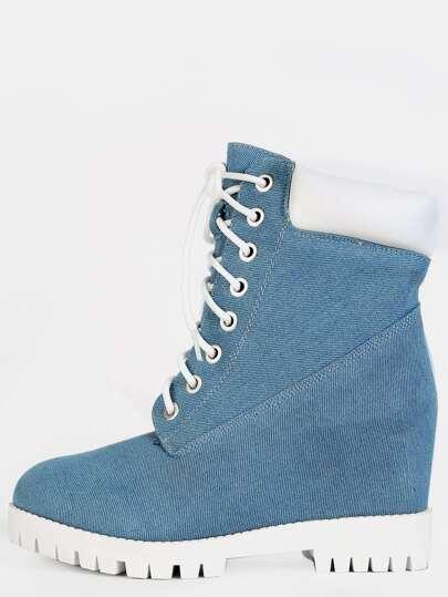 Denim Chunky Ankle Boots DENIM