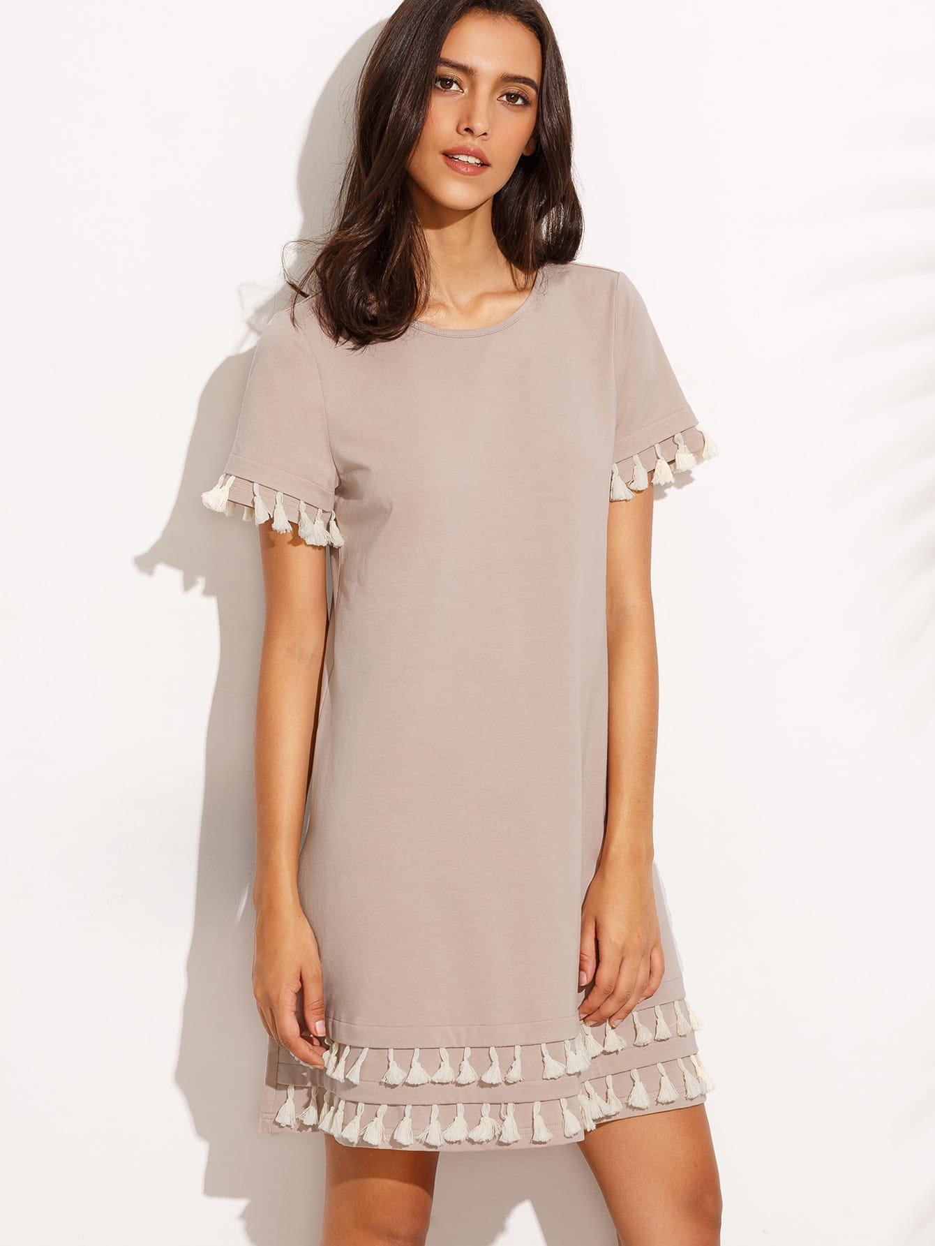 Фото Tassel Hem Loose Dress. Купить с доставкой