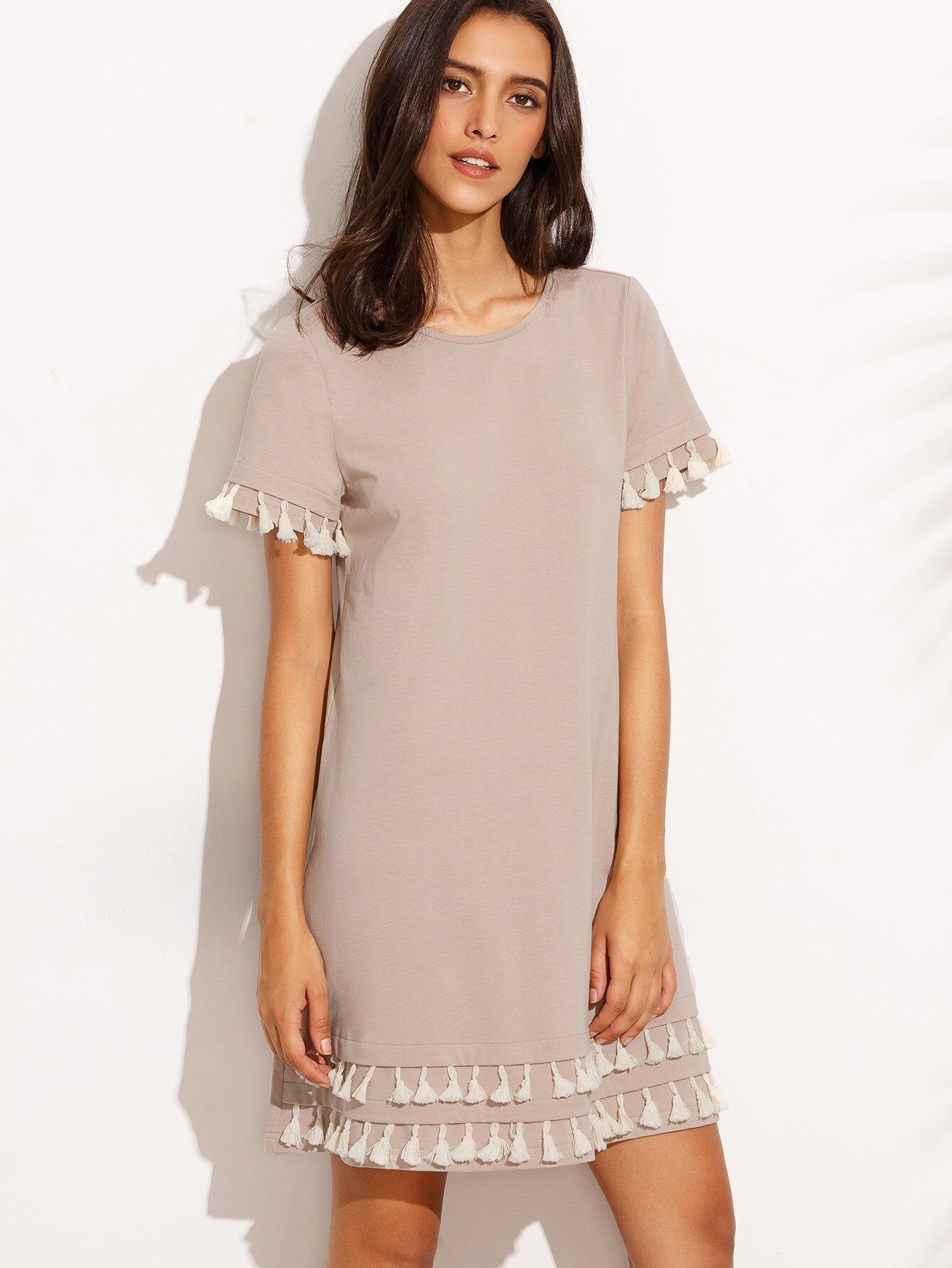 Dark Pink Tassel Hem Short Sleeve Shift Dress dress160729711