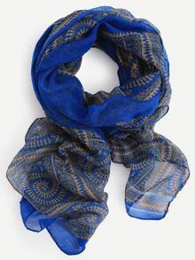 Blue Spiral Print Scarf