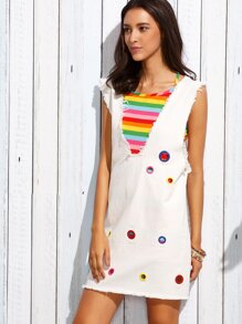 Deep V Neck Eyelet Frayed Tank Dress With Colorful Striped Cami Top