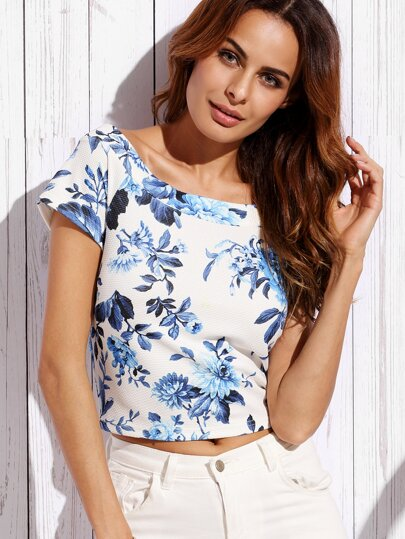 Blue Print in White Boat Neck Crop Blouse