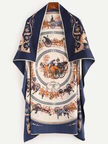 Royal Carriage Print Silk Square Scarf