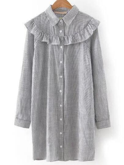 Grey Lapel Stripe Ruffle Button Blouse