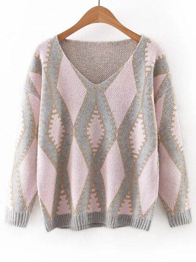 Pink V Neck Geometric Printed Sweater