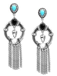 Silver Turquoise And Rhinestone Embellished Fringe Earrings