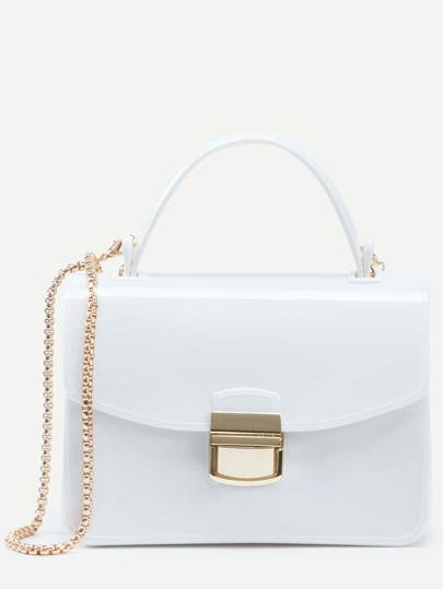 White Pushlock Closure Plastic Handbag With Chain