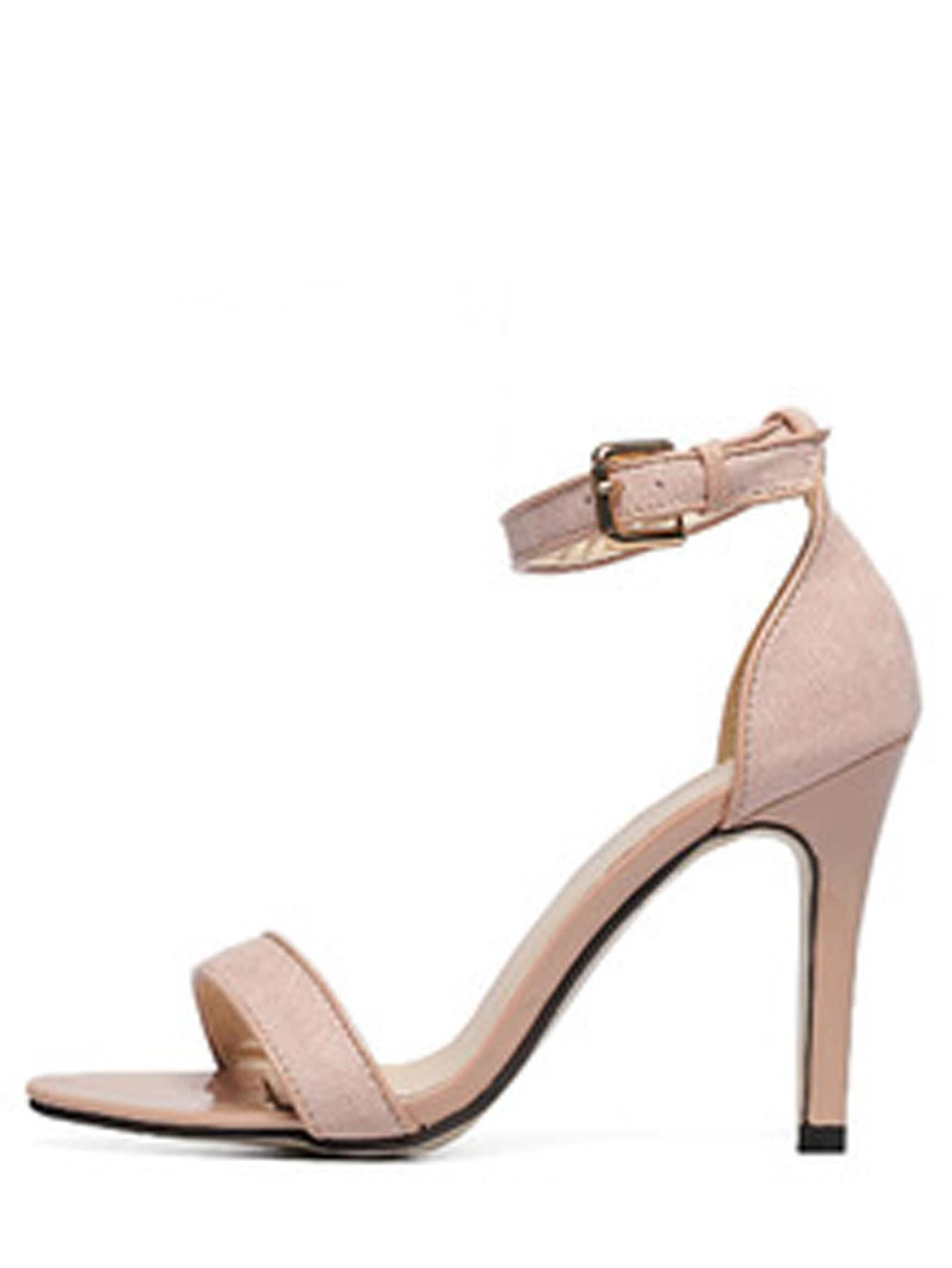 Image of Apricot Open Toe Ankle Strap High Stiletto Sandals