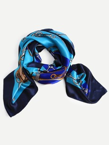 Blue Graphic Print Square Scarf