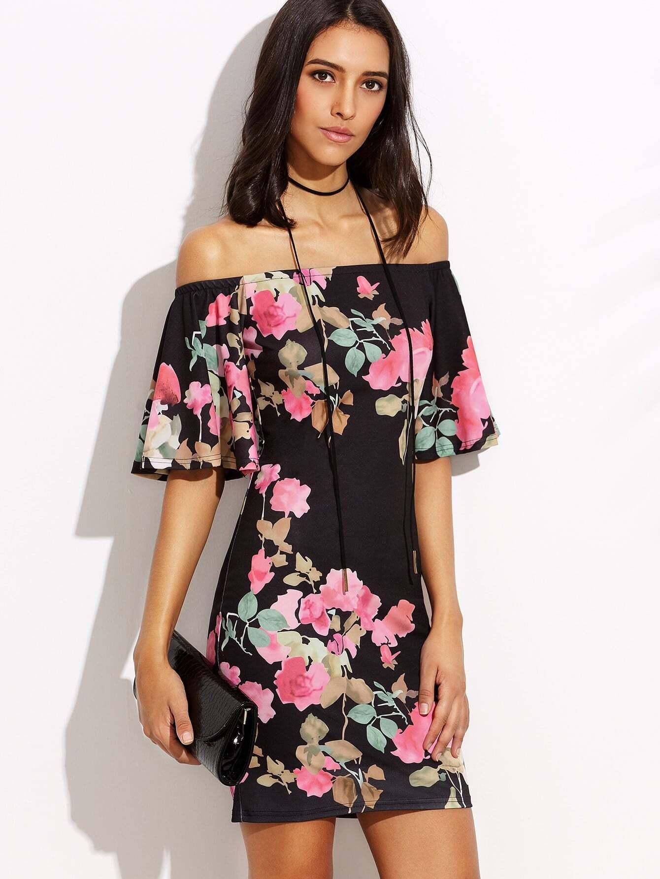 Фото Floral Print Bardot Frill Dress. Купить с доставкой