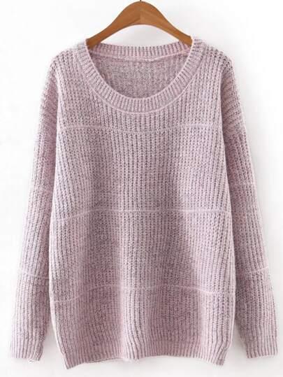 Pink Round Neck Plain Knitwear