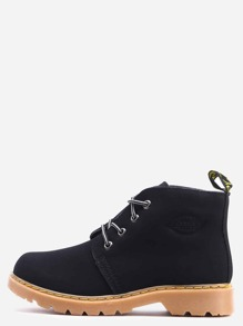 Black Round Toe Lace Up PU Boots