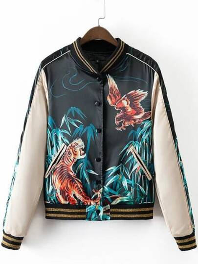 Black Printed Stripe Trim Button Front Jacket